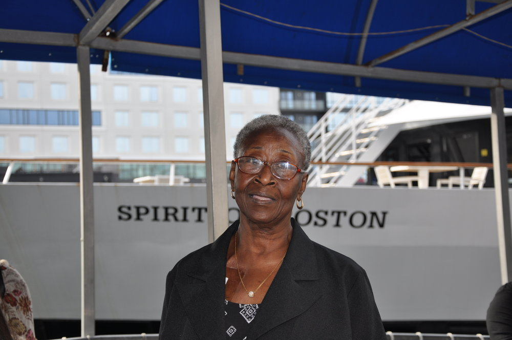 Jannie Gibbs boards The Spirit of Boston before receiving MJE's Courage and Conviction Award