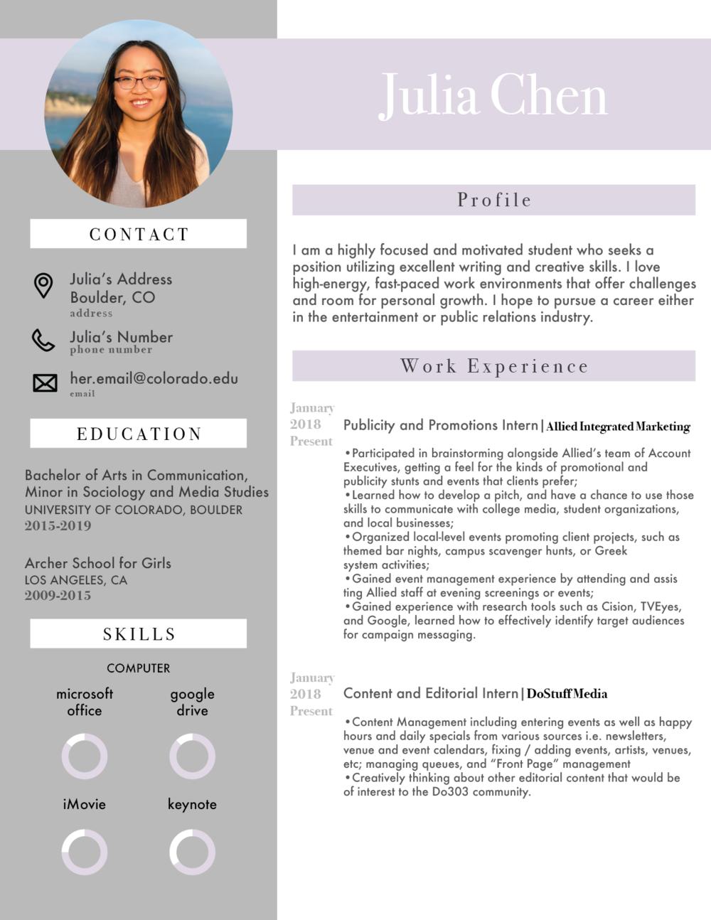Resume: Julia — Taylor Nicole Joachim