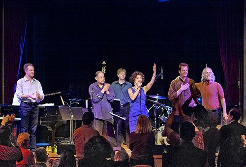 Lua Hadar with Twist curtain call at Yoshi's Jazz Club, Oakland, CA.  L to R: Jason Martineau, Larry De La Cruz, Dan Feiszli, Lua Hadar, Celso Alberti, Ian Dogole