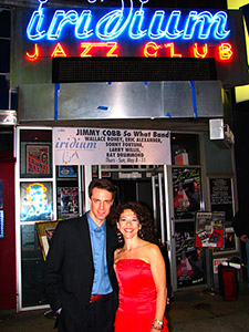 On Broadway outside The Iridium, after the show and before the cocktails.