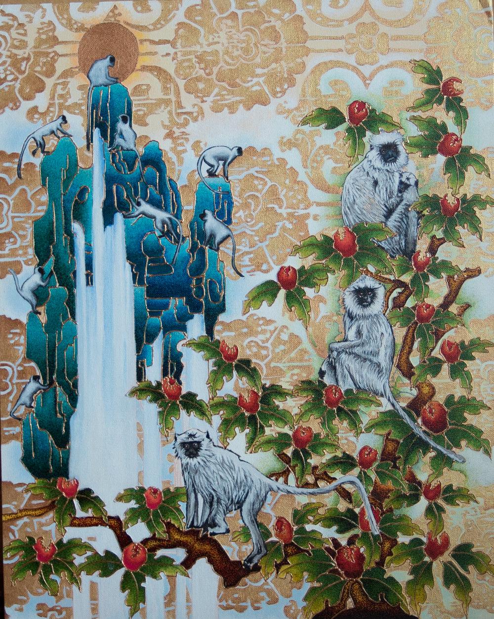 Sonam Yeshi,Monkey's Paradise,2017,16x20,Acrylic, markers, and mixed media on canvas, .jpg