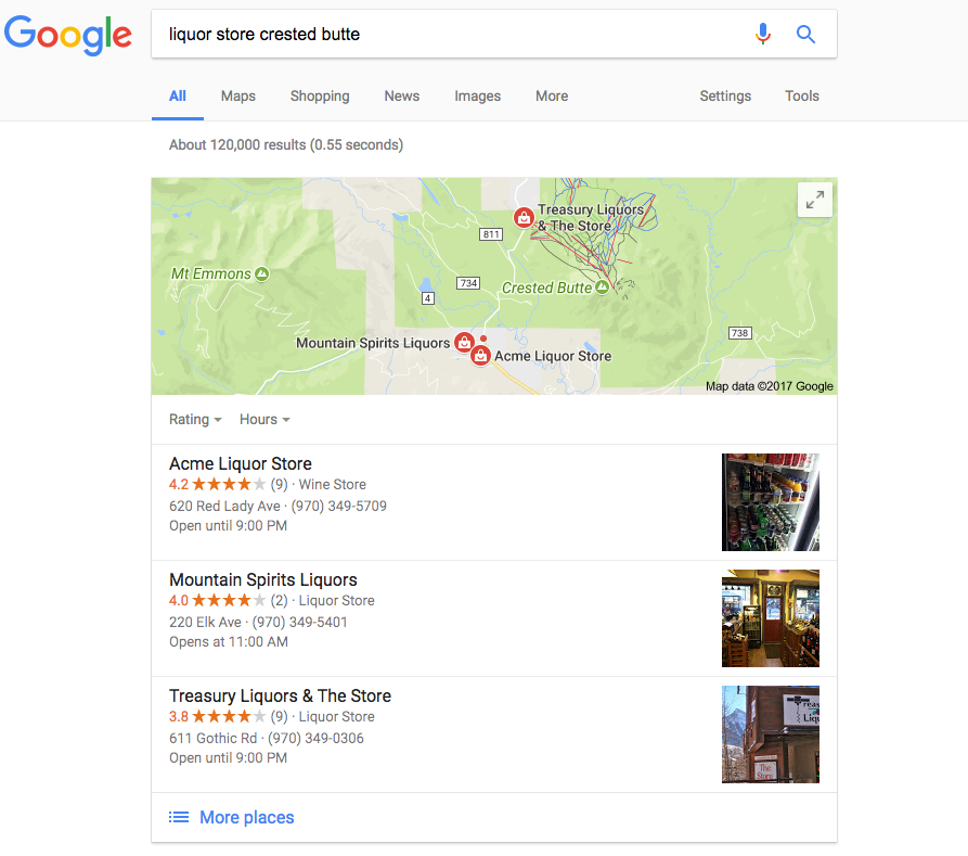 Where does your business land in a Google search?   Local searches lead 50% of mobile visitors to visit stores within one day.