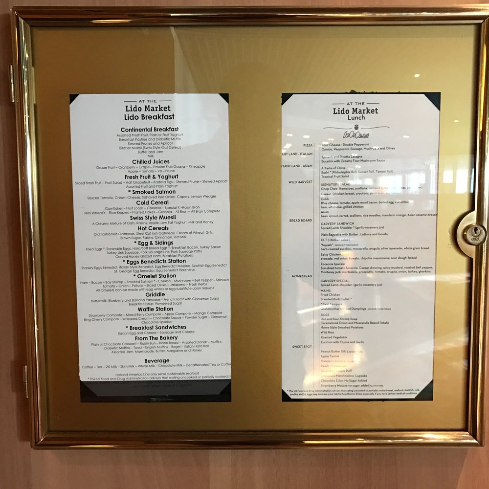 Lido Buffet Menu