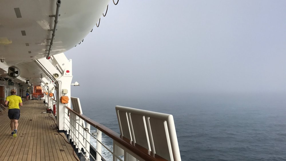 A foggy morning on the promenade deck