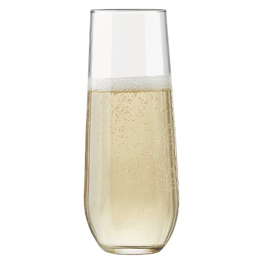 Champange. - This one is obvious, the bubblier, the narrower the glass. Champagne or any type of sparkling drink needs a small surface area so the drink doesn't go too flat too fast.