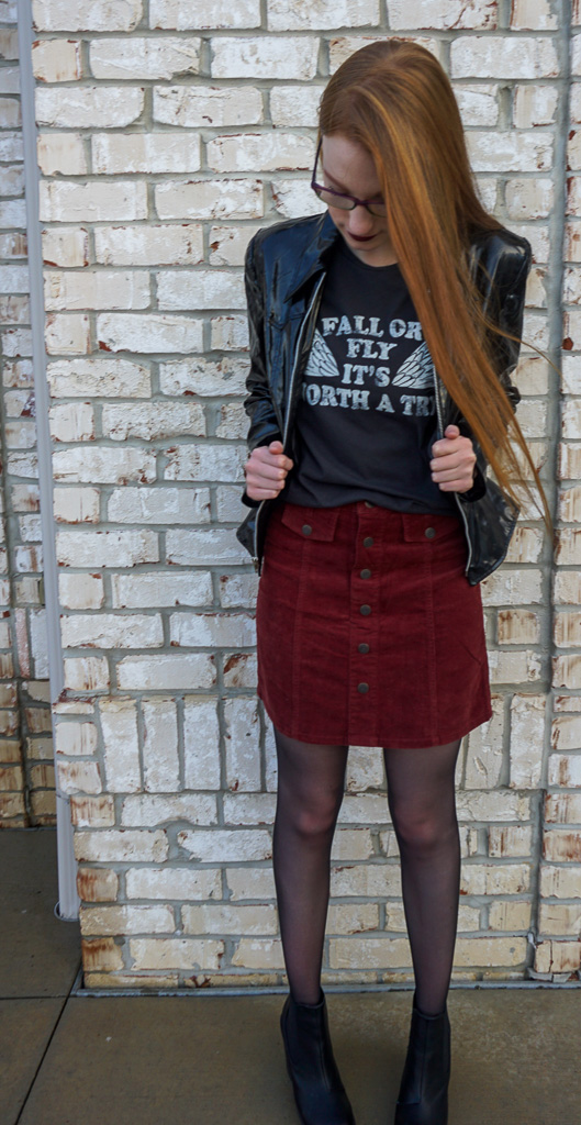 Jacket (similar)  |  t-shirt  |  skirt (similar)  |  tights  |  boots