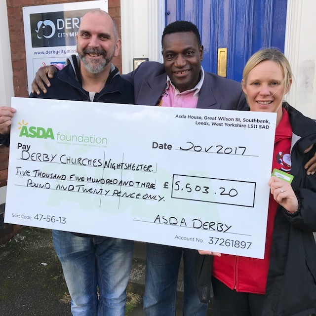 Cheque presented by Debbie Jones, ASDA Community Champion to CEO Julio Abraham & Nightshelter Manager Paul Munro