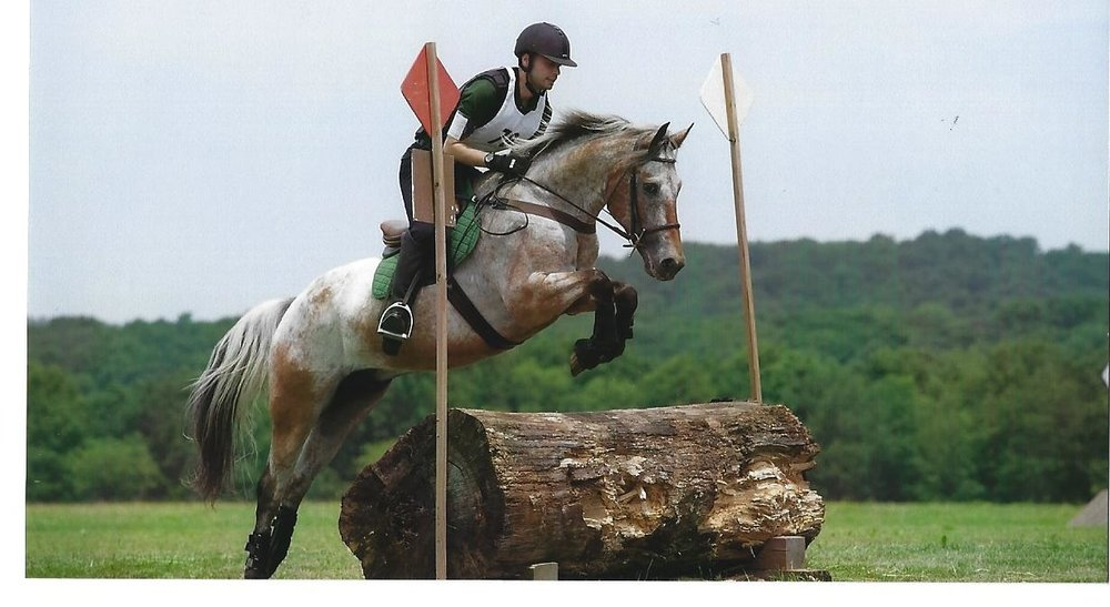 Jose and Otis in their previous careers as competitive Cross Country horse and rider.