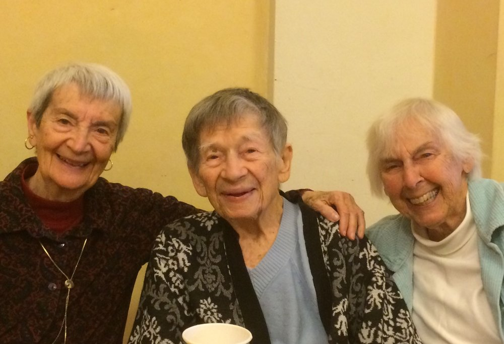 Doris, center, with friends at the Fellowship Community