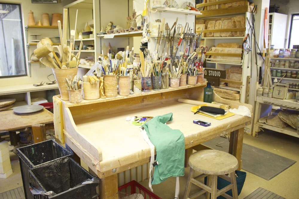 This is Beatrice Wood's desk and tools that I am using to create work -