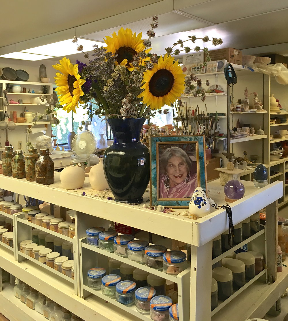My first three days at the Center were solely alone.   Okay, you are never alone in this studio, as Beatrice Wood's presence is all around you.  This is for real! -