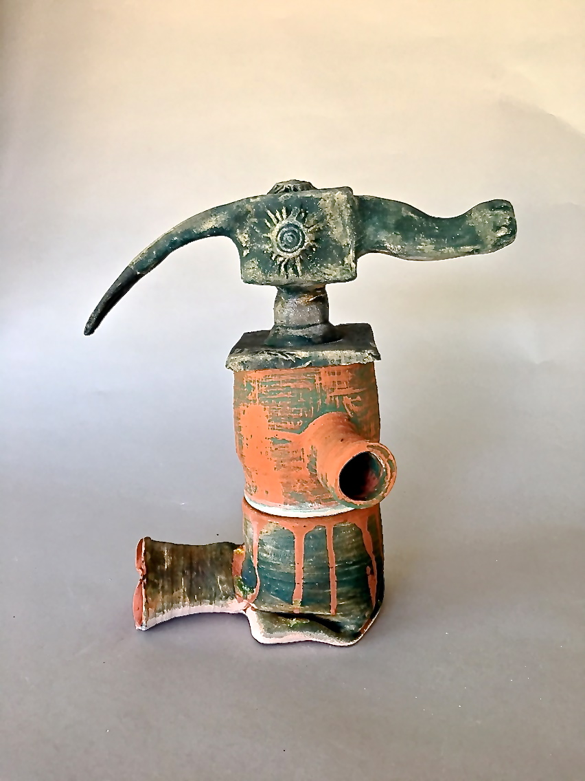 Figurative Sculpture #3 - Glazed Ceramic$650This figurative sculpture references a German multi tool from 1580.  The tool could be used as a long hammer, nail plucker or miniature anvil
