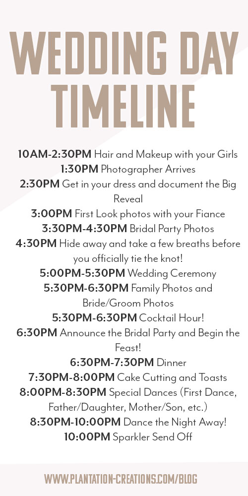 How To Create Your Wedding Day Timeline  The Plantation On