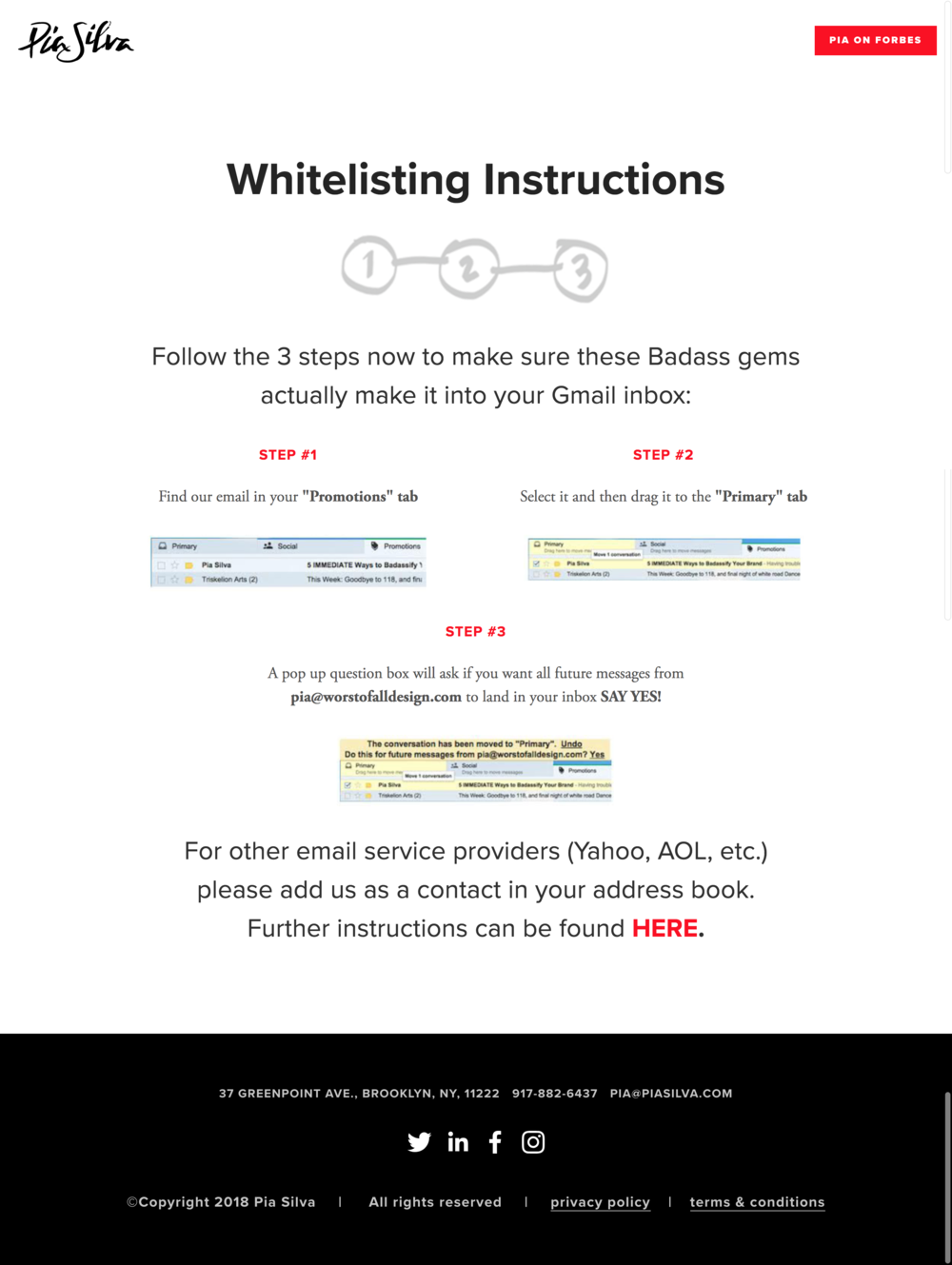branded page how to whitelist
