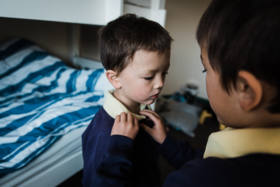Day-in-the-life morning getting dressed for school by Diana Hagues photography Cambridge photographer