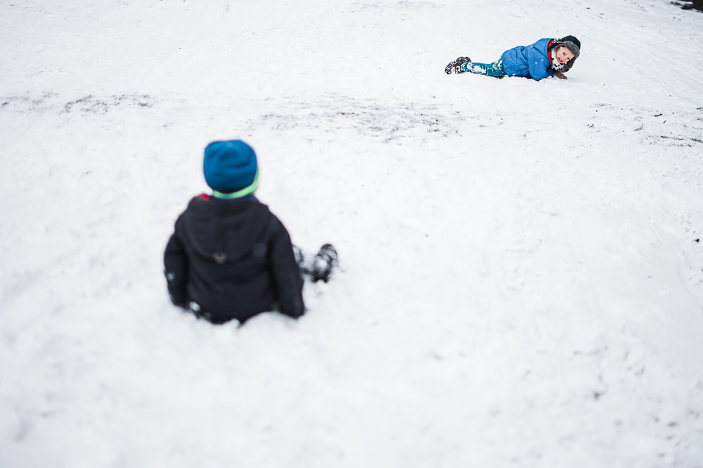 Children in the snow Beast of the East 2018 Huntingdon