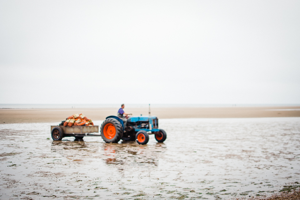 Mussel collector in his blue tractor on Hunstanton beach