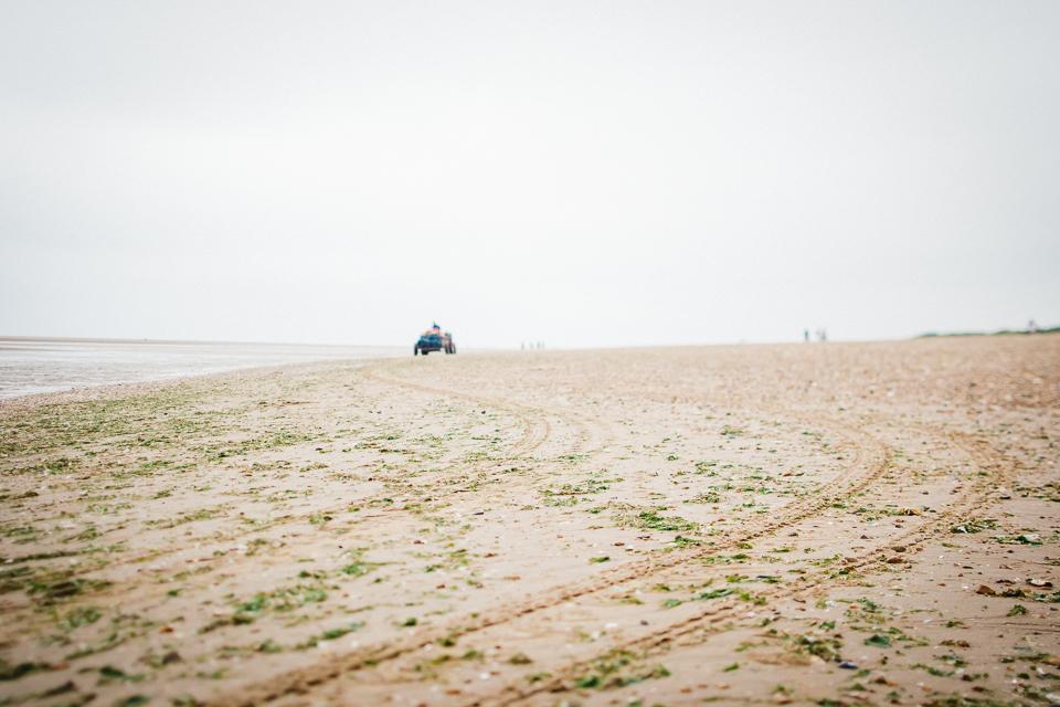 Tractor tracks on Hunstanton beach