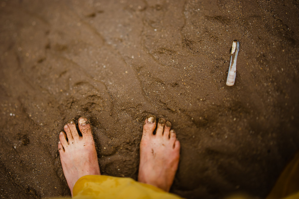 Toes on the beach next to a razor shell