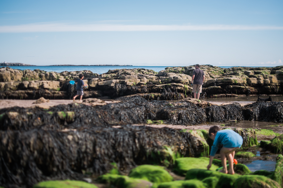 Freelensed photo of father and sons and the beach rocks at Bambu