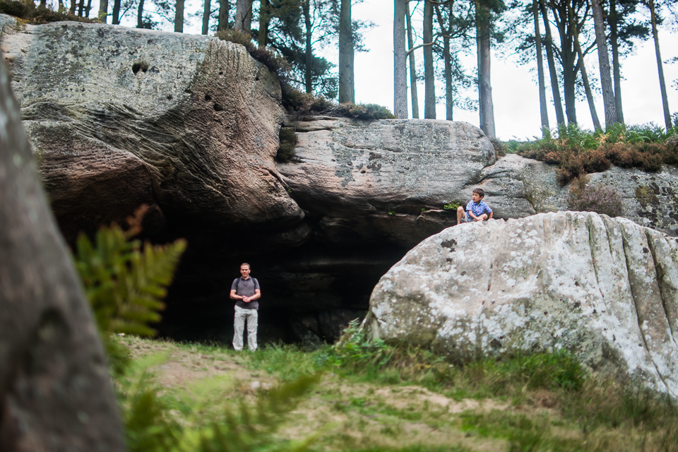 Father and son at St Cuthbert's cave