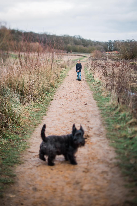 Boy and dog along a footpath looking towards Hinchingbrooke Park