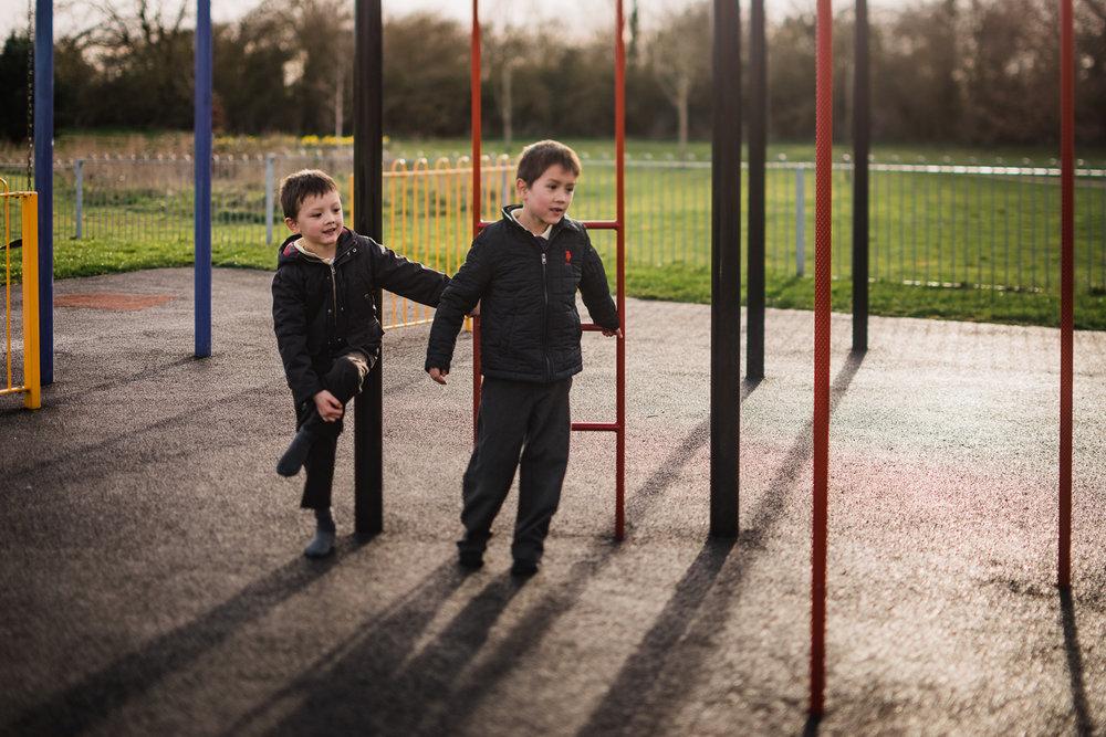 Two children in the playground in Huntingdon, Cambridgeshire