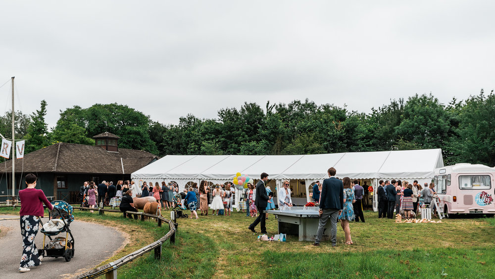 Horningsea Pavilion Wedding reception in a marquee tent in Cambr