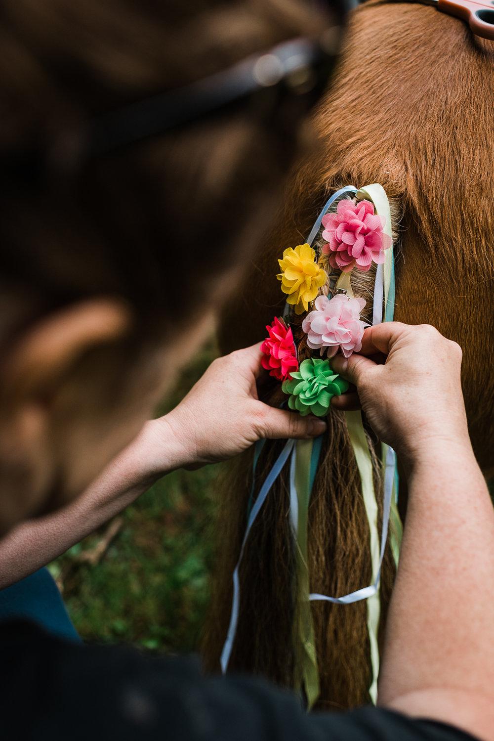 Flower braids on pony's tail