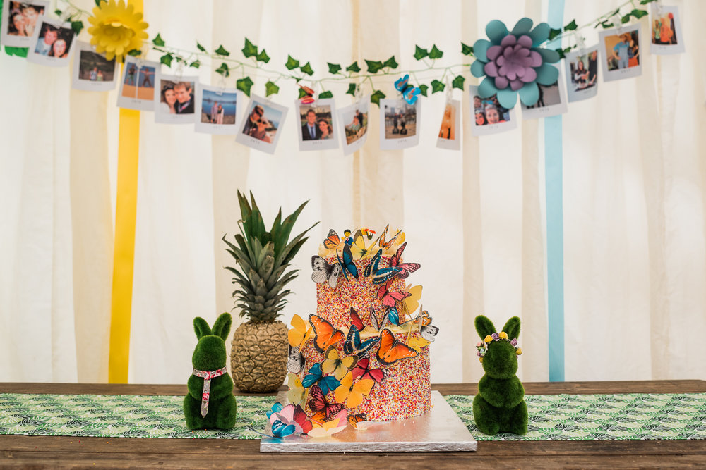 Hundreds and Thousands wedding cake with butterfly decorations a