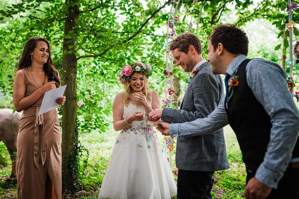 Outdoor wedding ceremony in a Cambridgeshire woodland