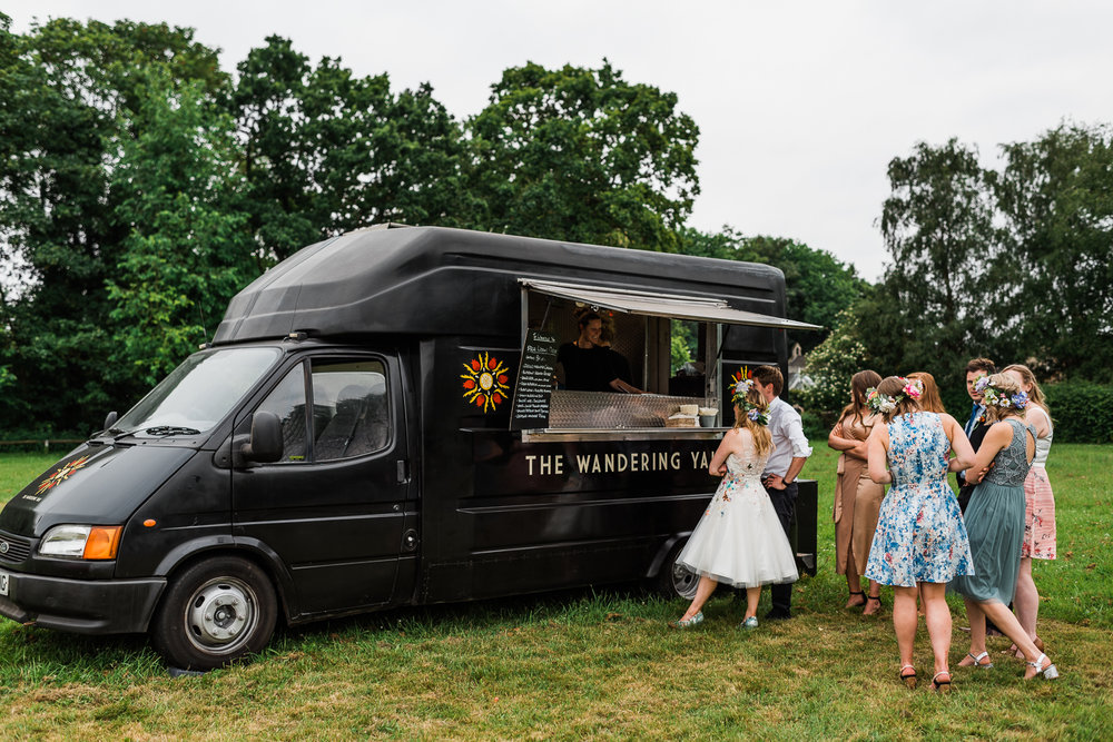 The Wandering Yak at a summer outdoor wedding in Horningsea Pavi