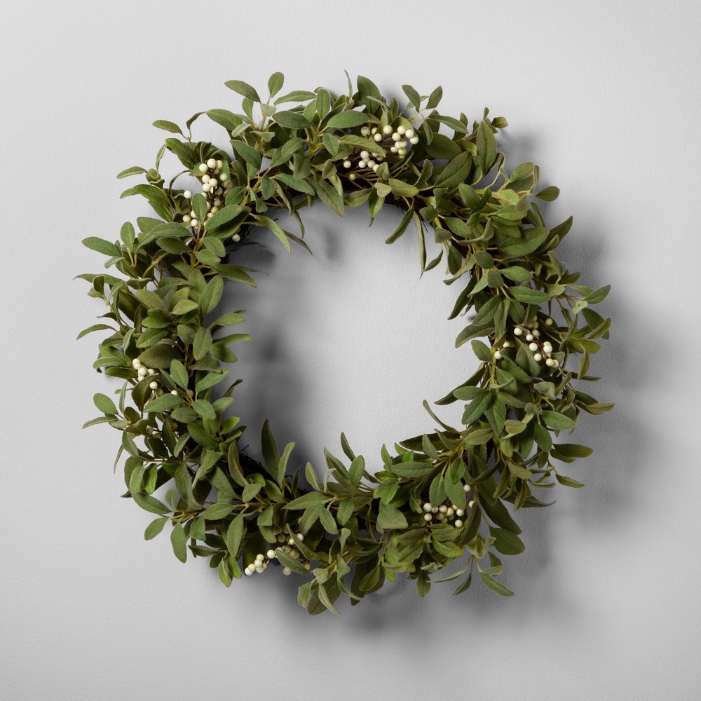 Lamb Ear and White Berry Wreath