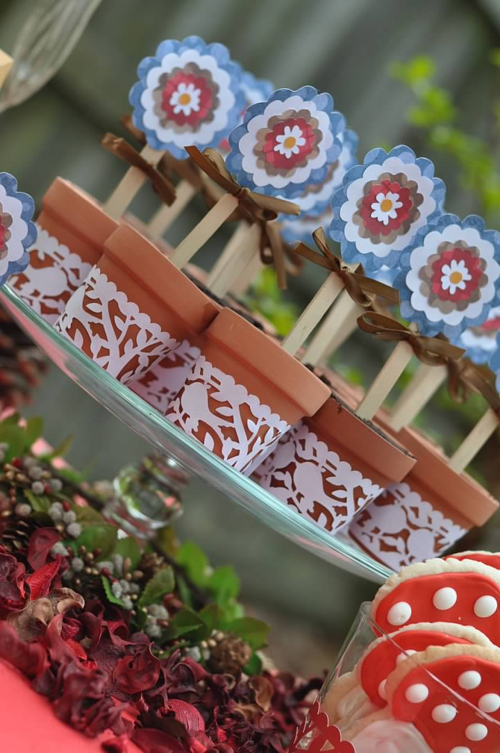 Haymount Homes Little Red Riding Hood Party Table Decor dirt cups.jpg