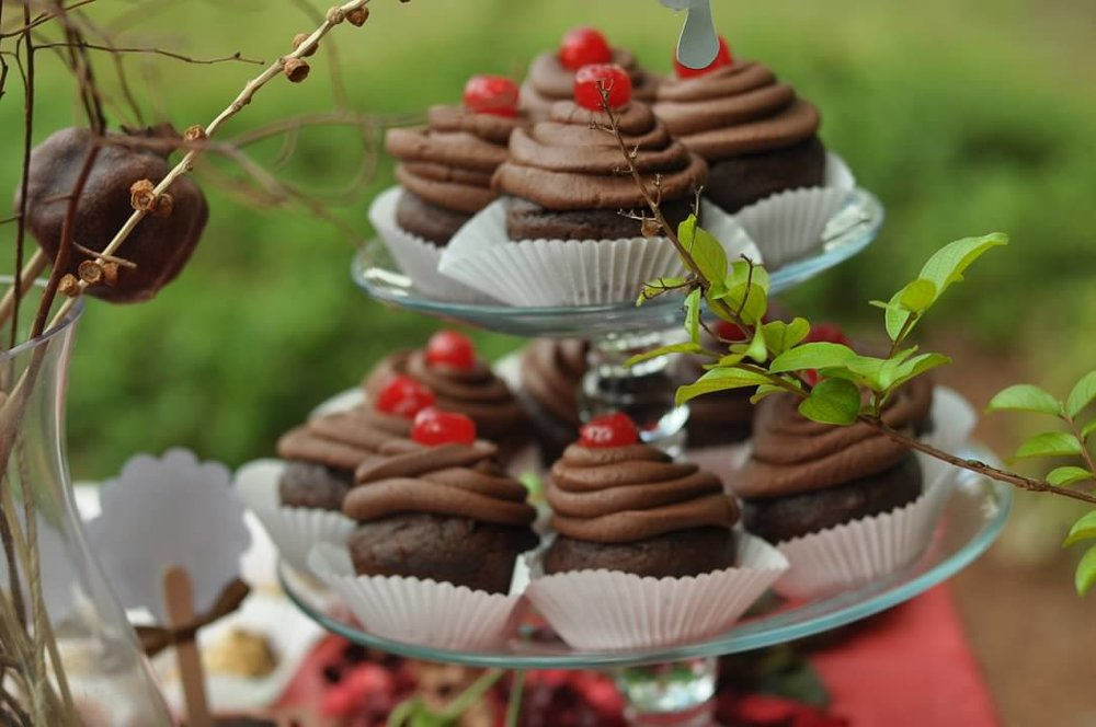 Haymount Homes Little Red Riding Hood Party Black Forest Cupcake with Cherry.jpg