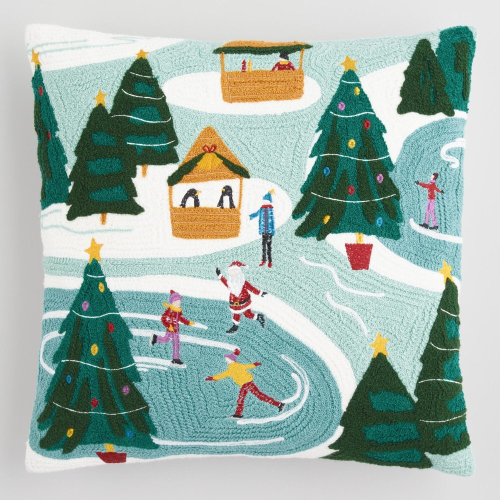 Skating Rink Embroidered Throw Pillow