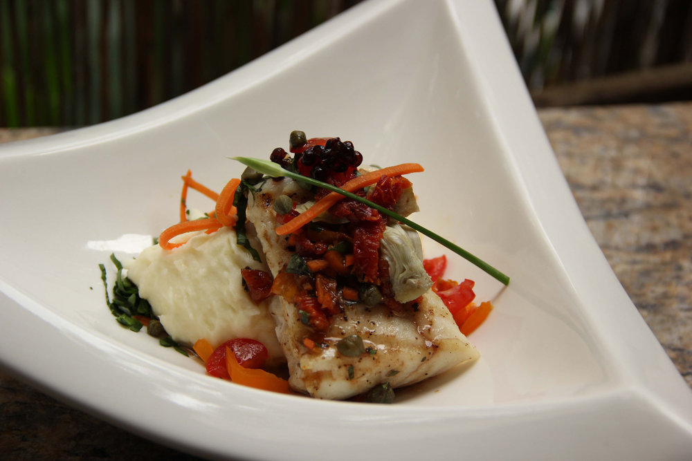 Grilled Halibut with Sun Dried Tomatoes and Artichokes