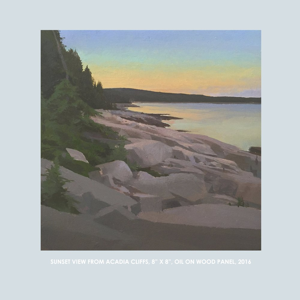"Copy of Christopher S. Tietjen painting: Sunset View from Acadia Cliffs, 8x8"", Oil on Wood Panel, 2016"