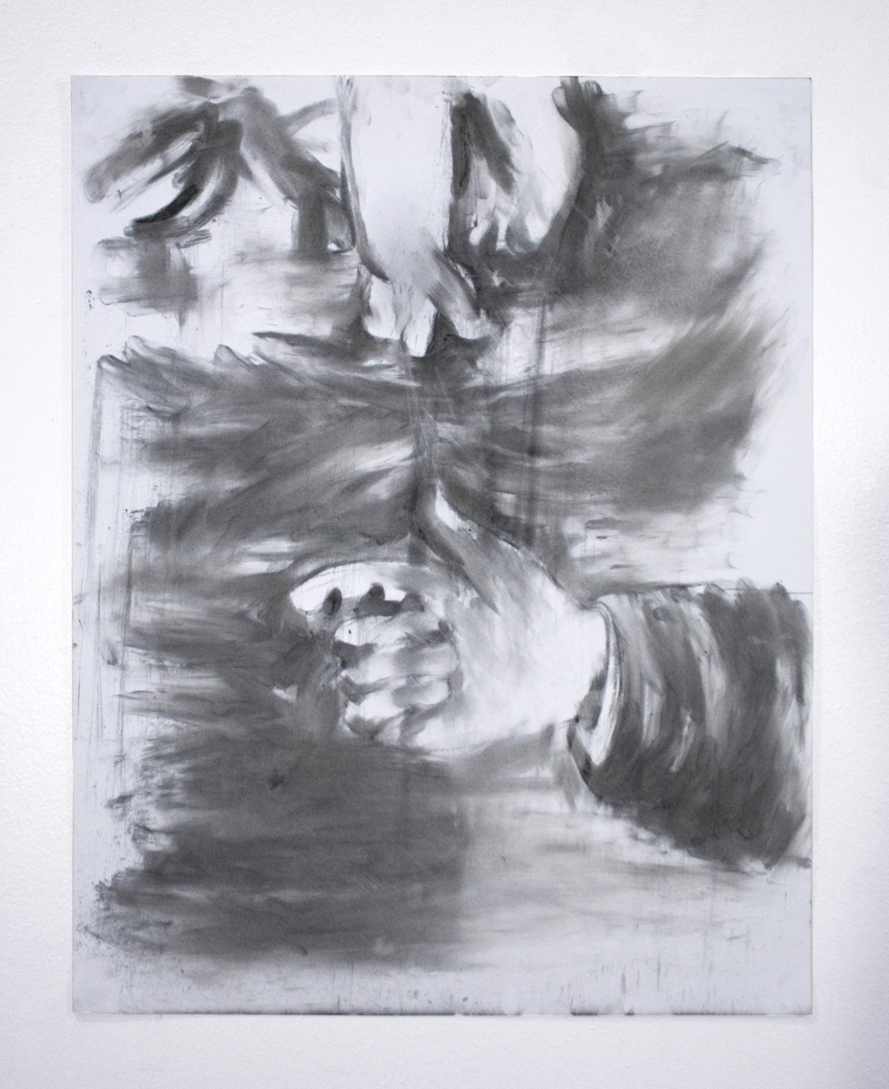 Finger Bather  | Charcoal on paper | 24 x 18"