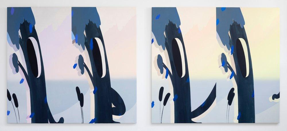 "Homunculus I & II  | Oil on canvas | 70 x 78"" each | 2018"