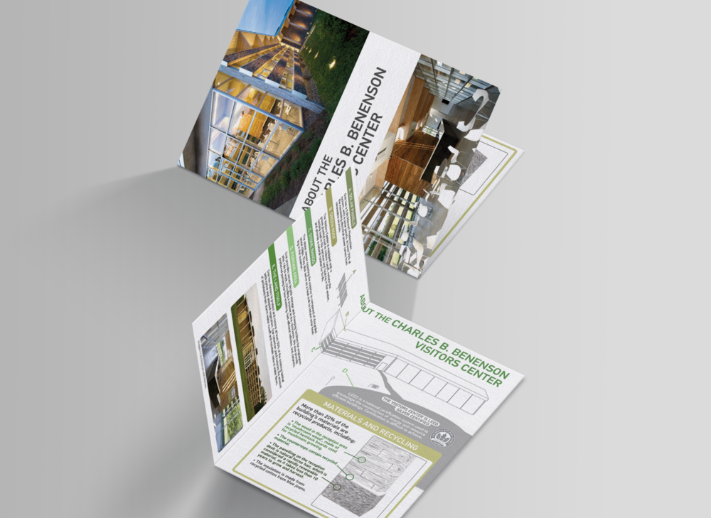 Maps and Brochures - Materials highlighting the new eco-friendly Benenson Center were created, along with geographically accurate park maps based off of satellite data to help visitors navigate more easily.