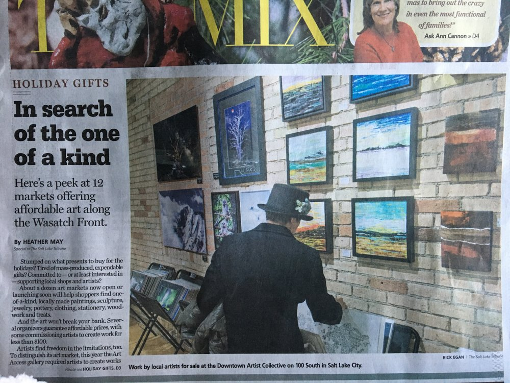 Holiday Market, Downtown Artists Collective.  My 12x12s on the wall!