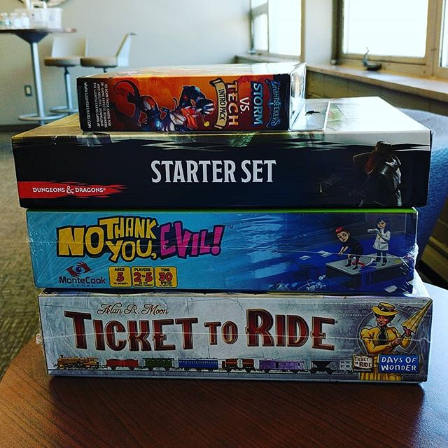 What do these games have in common? Tune in to @kelolandliving today to find out! #SFGameChest . . #GiveYouAHint #internationaltabletopday #grandESTopening #GameChestCommunity #boardgamegeek #gameshop #DTSiouxFalls #ittd2018