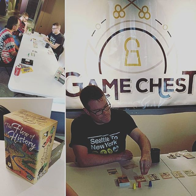 Great day at the shop today. Special thanks to Jake Fischer for running a demo of #flowofhistory we love having you! #SFGameChest #GameChestCommunity . . . @tastyminstrel #gameshop #FLGS #boardgamegeek #boardgames #DTSiouxFalls #hifromsd