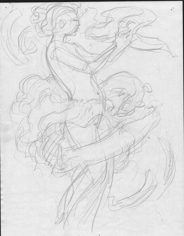 Barefoot Justine, Crepax tribute sketch #3
