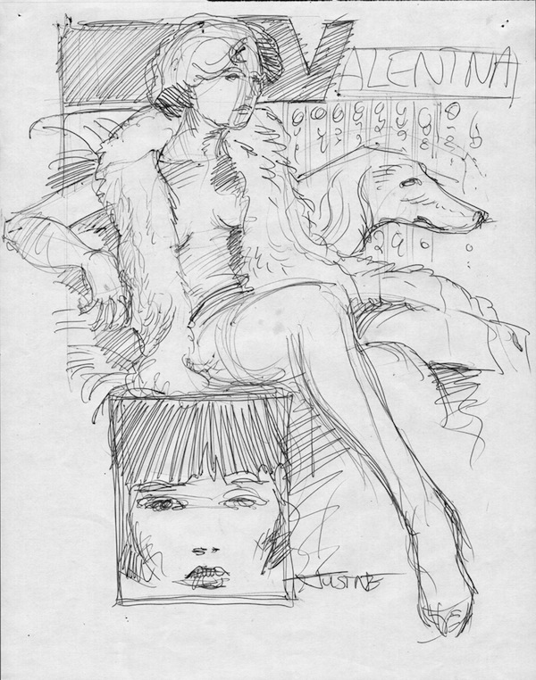 Barefoot Justine, Crepax tribute sketch #4