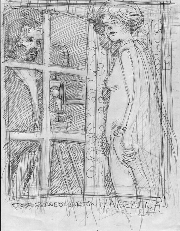 Barefoot Justine, Crepax tribute sketch #1