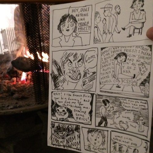 During one Brooklyn Draw Jam session, they made a comic about that time I brought fries. I wanted to die.