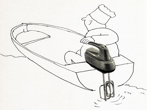 Egg beater as boat engine.