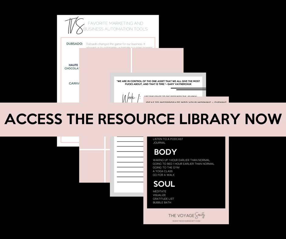 FREE RESOURCE LIBRARY - Design your life on your terms with my favorite resources, masterclasses, ebooks, guided meditations, journal prompts, business guides, + a community of thousands of boss babes just like you ready to support you on your voyage!